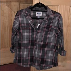 Half Button Grey/Pink Flannel